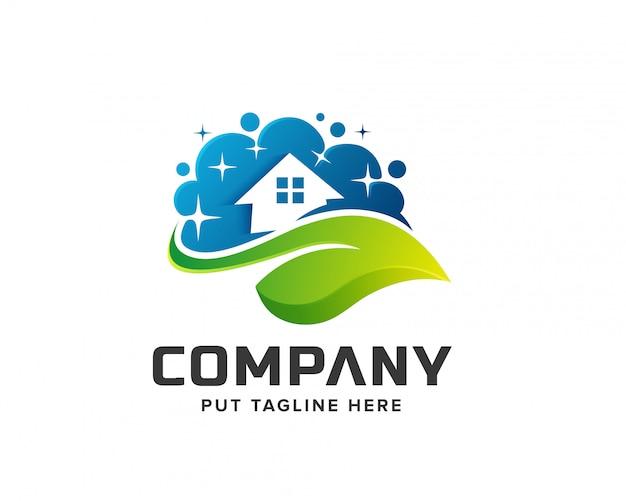 Logotipo de lavandería de casa limpia