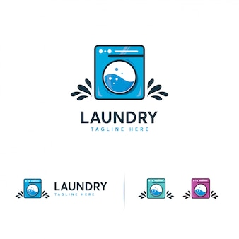 Logotipo de lavandería, logotipo de lavadora
