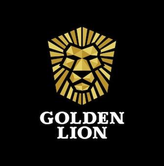 Logotipo de león dorado en diseño geométrico de lujo.