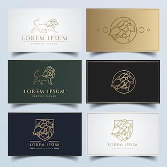 Logotipo de león moderno con variaciones de tarjetas de visita editables.
