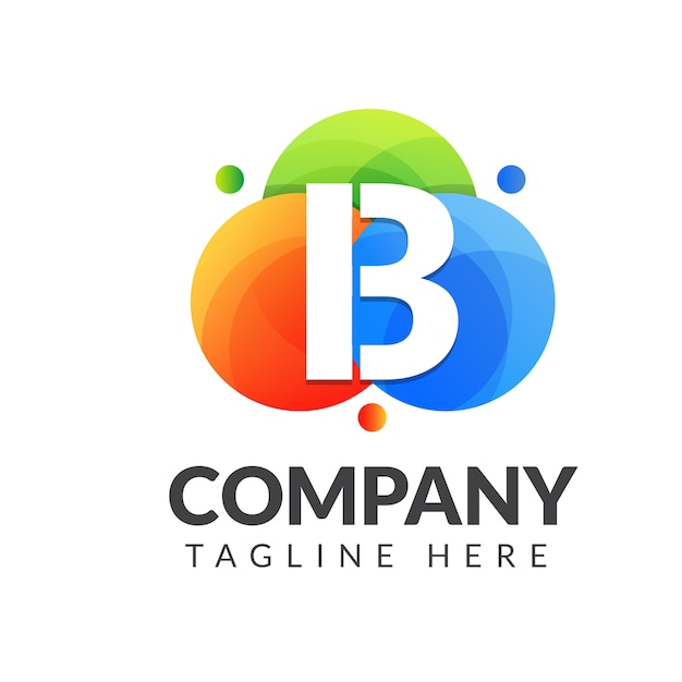 Logotipo de la letra b con colores de fondo, diseño de logotipo de combinación de letras para la industria creativa, web, negocios y empresa.