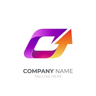 Logotipo de la letra c con flecha hacia arriba