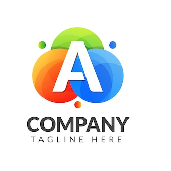 Logotipo de la letra a con colores de fondo, diseño de logotipo de combinación de letras para la industria creativa, web, negocios y empresa.