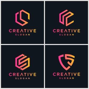 Logotipo de letra cs bundel