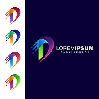 Logotipo de la letra d de colorfull