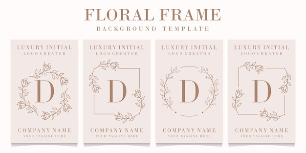 Logotipo de la letra d con plantilla de marco floral