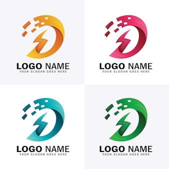 Logotipo de la letra d power energy con cuatro opciones de color diferentes