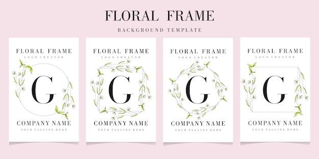 Logotipo de la letra g con plantilla de fondo de marco floral