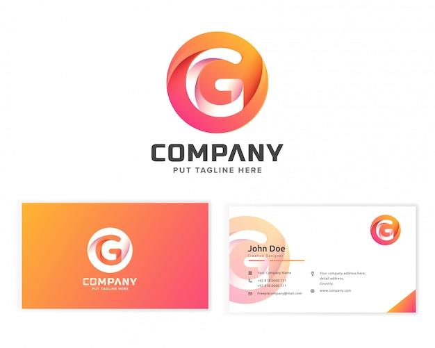 Logotipo de la letra g con tarjeta de visita de papelería