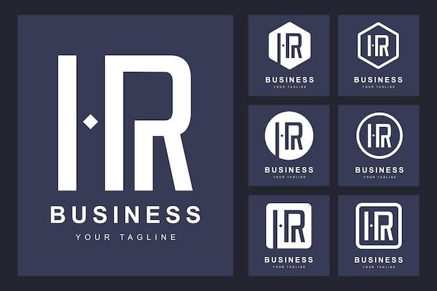 Logotipo de letra hr minimalista con varias versiones.