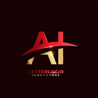 Logotipo de letra inicial ai con diseño de swoosh para el logotipo de empresa y negocio.