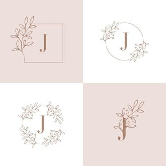 Logotipo de la letra j con elemento de hoja de orquídea