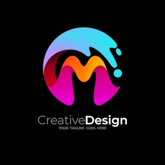 Logotipo de la letra m con diseño de agua swoosh