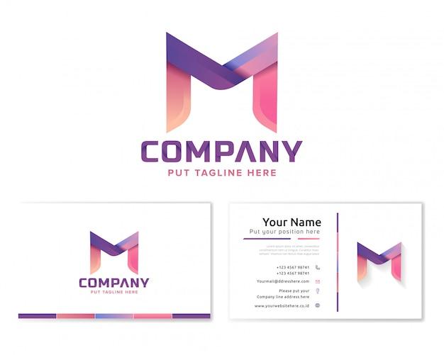 Logotipo de la letra m con tarjeta de visita de papelería
