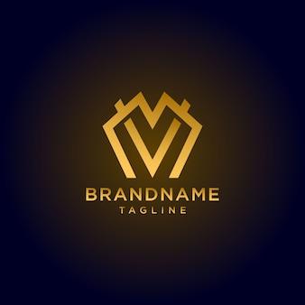 Logotipo de la letra mv de oro