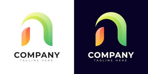 Logotipo de la letra n inicial de estilo degradado moderno
