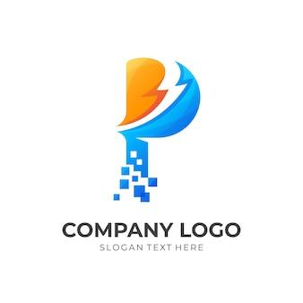 Logotipo de la letra p con diseño de trueno, icono de tecnología
