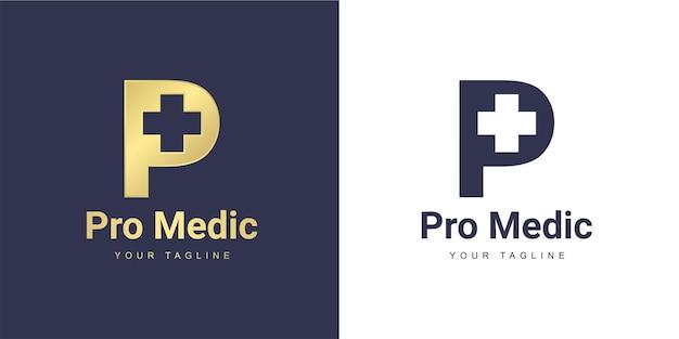Logotipo de la letra p con un médico minimalista y un concepto saludable