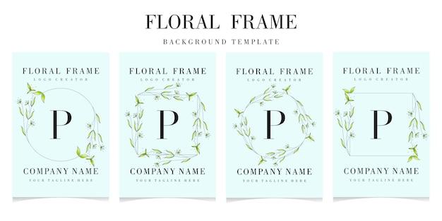 Logotipo de la letra p con plantilla de fondo de marco floral