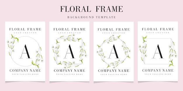 Logotipo de la letra a con plantilla de fondo de marco floral