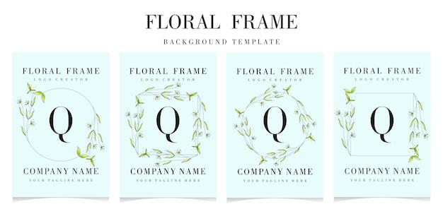 Logotipo de la letra q con plantilla de fondo de marco floral