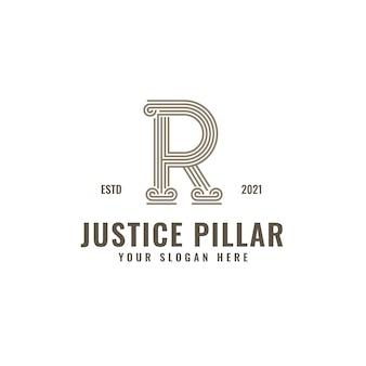 Logotipo de la letra r, pilar de la ley y la justicia, elegante arte de línea geométrica audaz