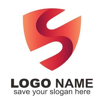 Logotipo de la letra s del escudo creativo.