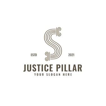 Logotipo de la letra s pilar de la ley y la justicia arte de línea geométrica intrépida elegante
