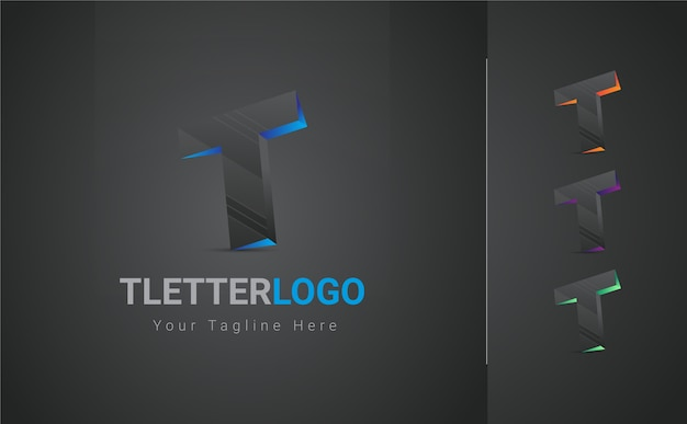 Logotipo de la letra t 3d