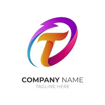 Logotipo de la letra t inicial con trueno