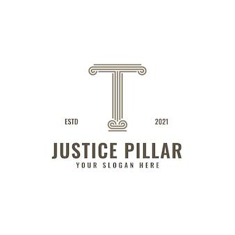 Logotipo de la letra t, pilar de la ley y la justicia, elegante arte de línea geométrica audaz