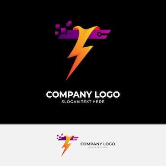 Logotipo de la letra t con plantilla de diseño de trueno, icono de tecnología de píxeles