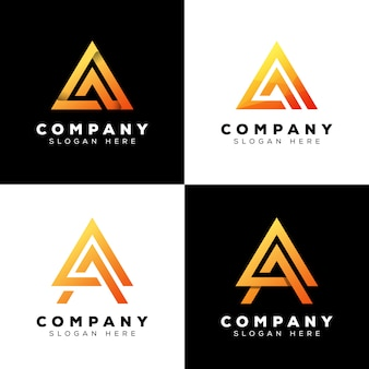 Logotipo de la letra a del triángulo de la colección, diseño moderno del logotipo de la letra inicial premium