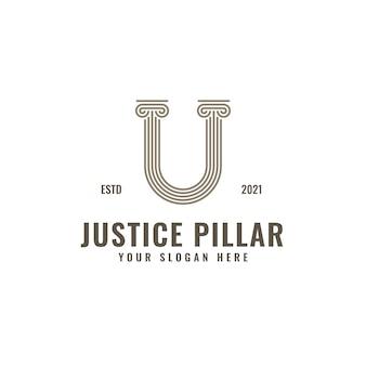 Logotipo de la letra u, pilar de la ley y la justicia, elegante arte de línea geométrica audaz