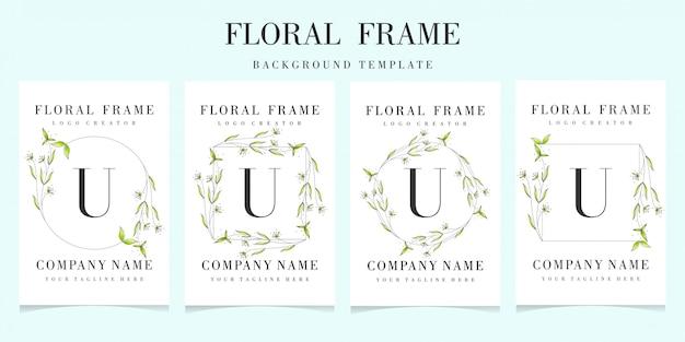Logotipo de la letra u con plantilla de fondo de marco floral
