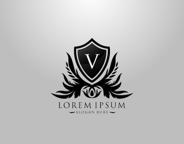 Logotipo de la letra v. inital v majestic king shield black design para boutique, hotel, fotografía, joyería, etiqueta.
