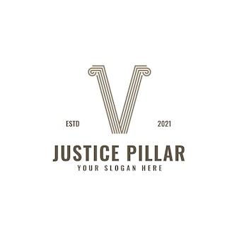 Logotipo de la letra v pilar de la ley y la justicia arte de línea geométrica audaz elegante