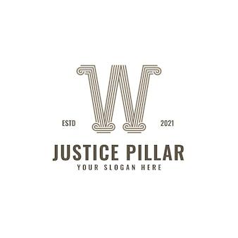 Logotipo de la letra w, pilar de la ley y la justicia, elegante arte de línea geométrica audaz