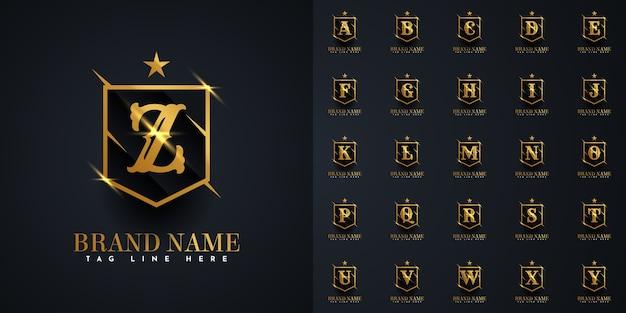 Logotipo de la letra a a la z en plantilla de ilustración de escudo dorado