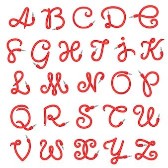 Logotipo de letras del alfabeto formado por cable jack.