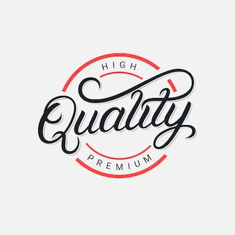 Logotipo de letras escritas a mano de primera calidad, insignia, caligrafía de pincel moderno, tipografía. estilo retro vintage. .
