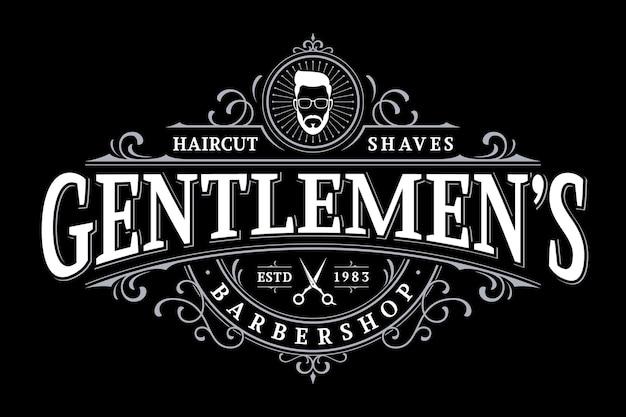 Logotipo de letras vintage de barbería con adorno floral Vector Premium