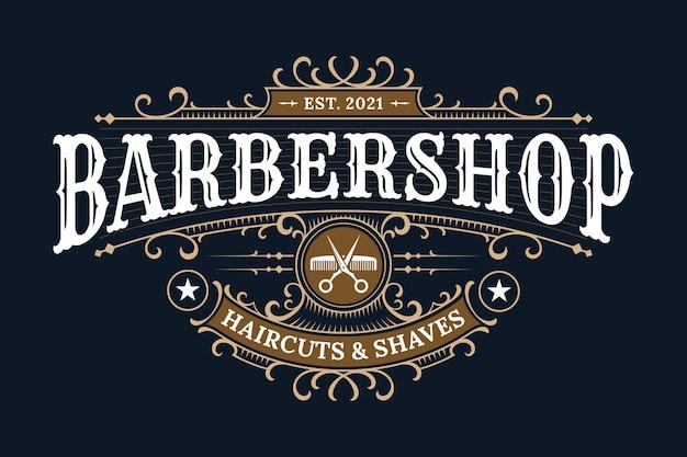 Logotipo de letras vintage de barbería con marco ornamental decorativo