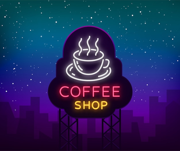 Logotipo de letrero de neón de café