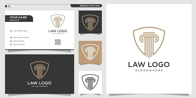 Logotipo de la ley con estilo de escudo de arte lineal y plantilla de tarjeta de visita