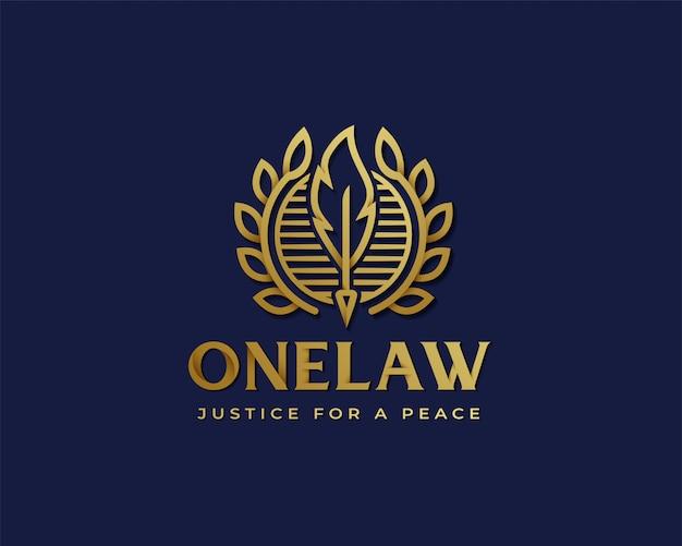 Logotipo de ley premium oro