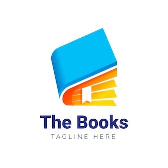 Logotipo de libro degradado con lema