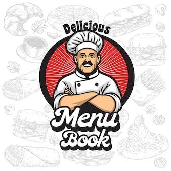 Logotipo de libro de menú con dibujos animados de chef