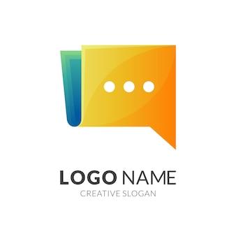 Logotipo de libro y plantilla de diseño de chat