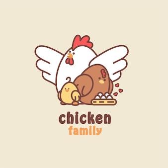 Logotipo lindo de la familia de pollos